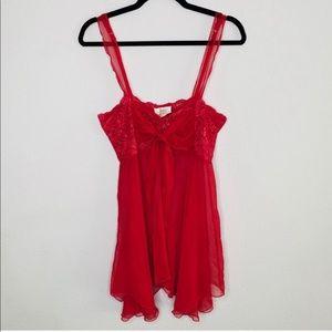 Victoria's Secret Vintage Gold Label Red Chemise